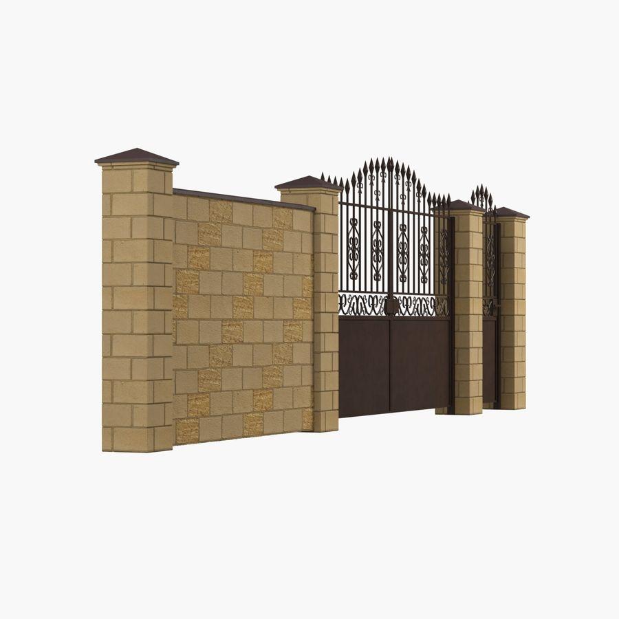 Portão de ferro forjado e cerca 05 royalty-free 3d model - Preview no. 5