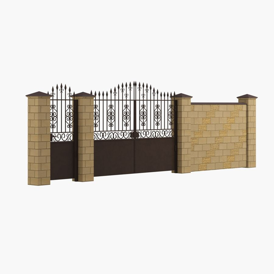 Portão de ferro forjado e cerca 05 royalty-free 3d model - Preview no. 1