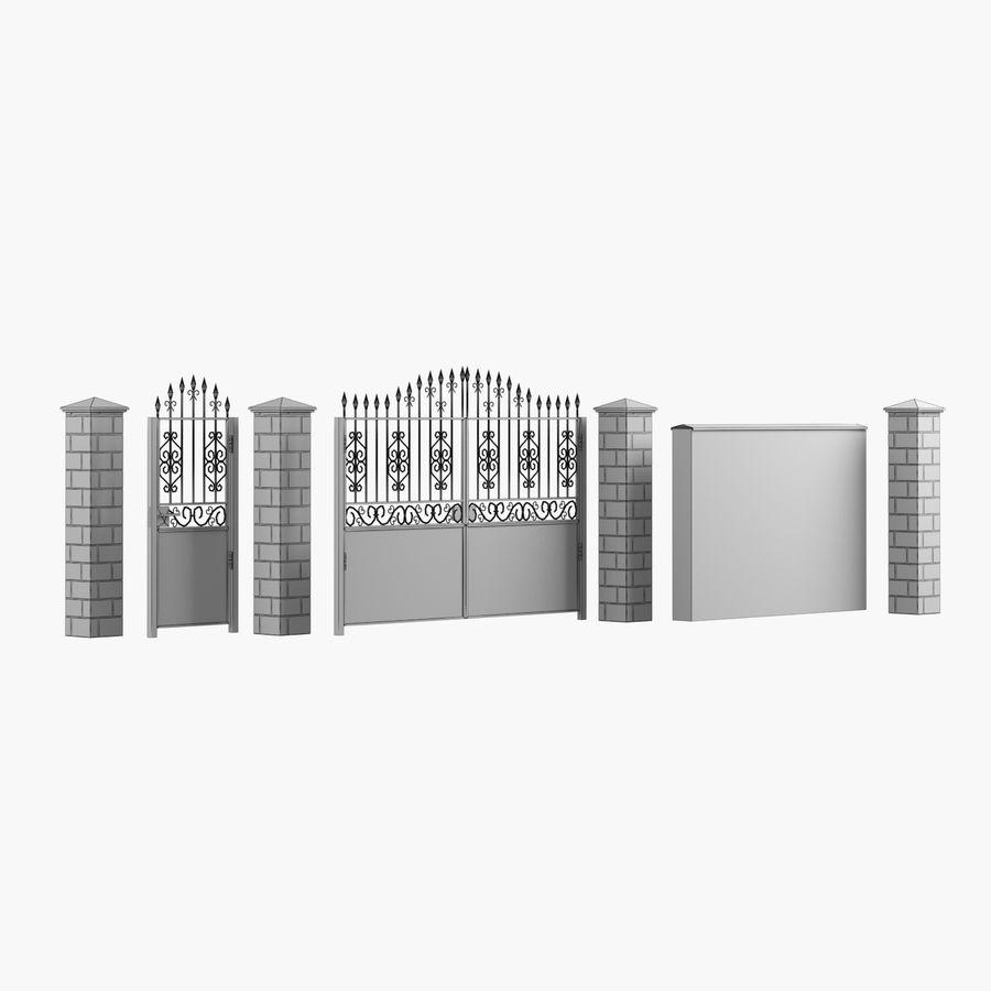 Portão de ferro forjado e cerca 05 royalty-free 3d model - Preview no. 12
