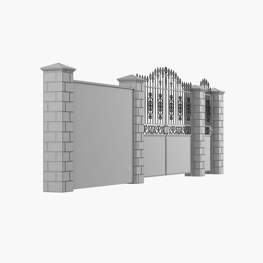 Portão de ferro forjado e cerca 05 royalty-free 3d model - Preview no. 11