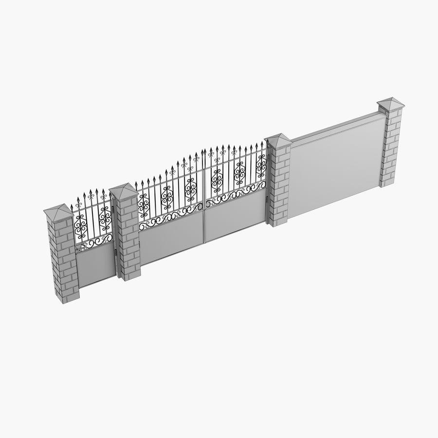 Portão de ferro forjado e cerca 05 royalty-free 3d model - Preview no. 8