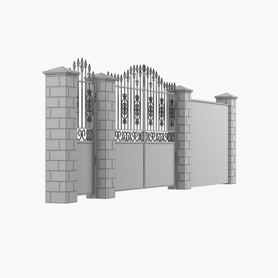 Portão de ferro forjado e cerca 05 royalty-free 3d model - Preview no. 10