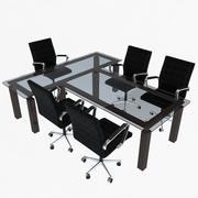 Офисные стулья и стол 3d model