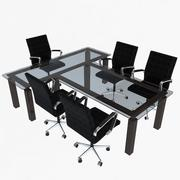 Office Chairs and Table 3d model