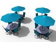 Yttre barbord, stol och parasoll 3d model