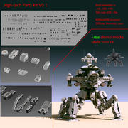 Kit de piezas de alta tecnología. modelo 3d