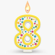 Number Candle 8 with Flame 3d model