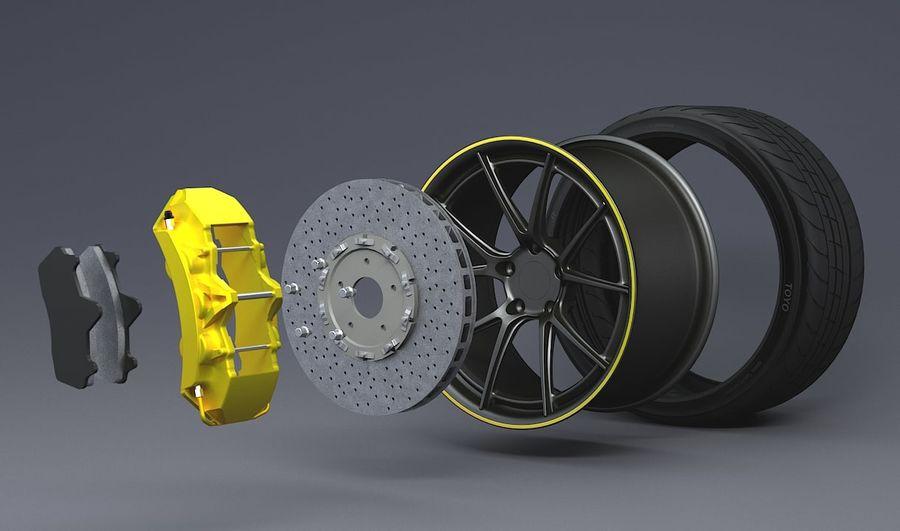 гоночный дисковый тормоз и руль royalty-free 3d model - Preview no. 3