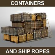 Houten containers en touwen 3d model