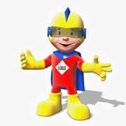 卡通超级英雄男孩 3d model