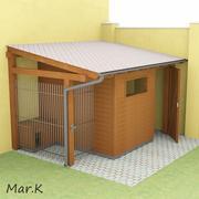 деревянный сарай + собачья будка 3d model
