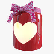 Red Valentines Day Heart Jar 3d model