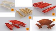 Drewniane stoły piknikowe 5 szt 3d model