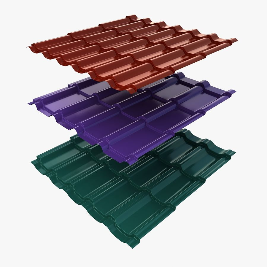 3 Metal Roofing Set royalty-free 3d model - Preview no. 1