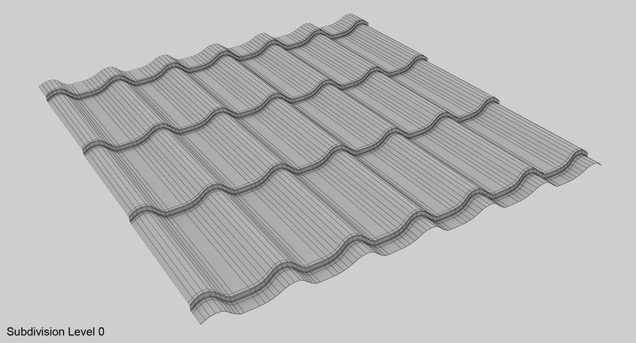 3 Metal Roofing Set royalty-free 3d model - Preview no. 7
