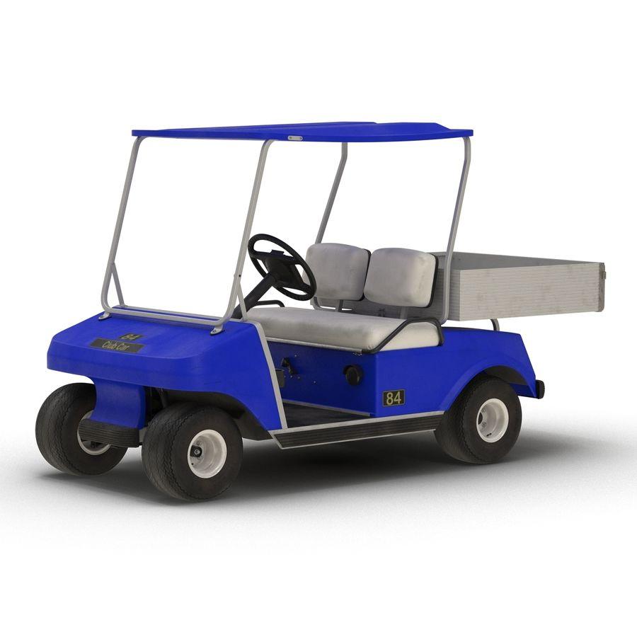 Golf Cart Blue 3D Model royalty-free 3d model - Preview no. 3