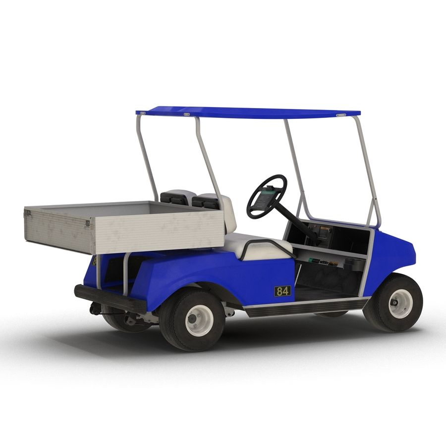 Golf Cart Blue 3D Model royalty-free 3d model - Preview no. 5