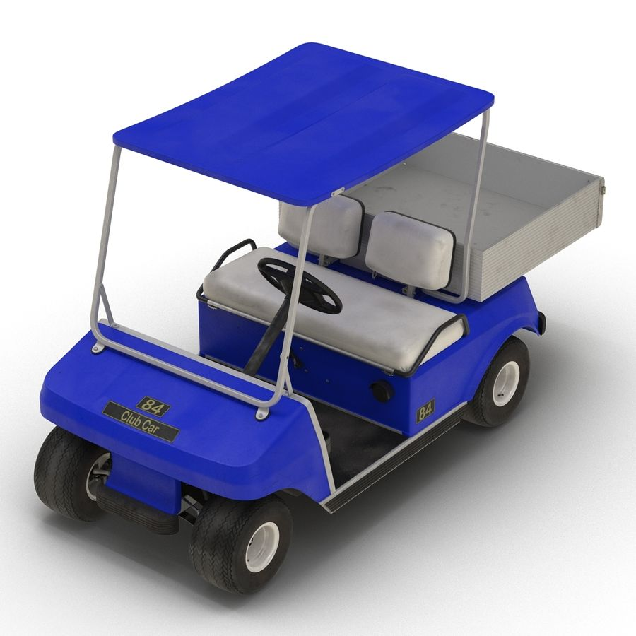 Golf Cart Blue 3D Model royalty-free 3d model - Preview no. 6