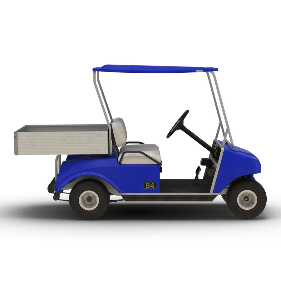 Golf Cart Blue 3D Model royalty-free 3d model - Preview no. 8