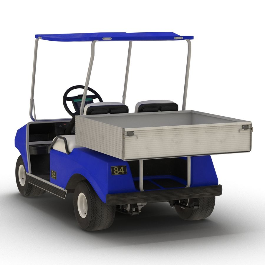 Golf Cart Blue 3D Model royalty-free 3d model - Preview no. 4