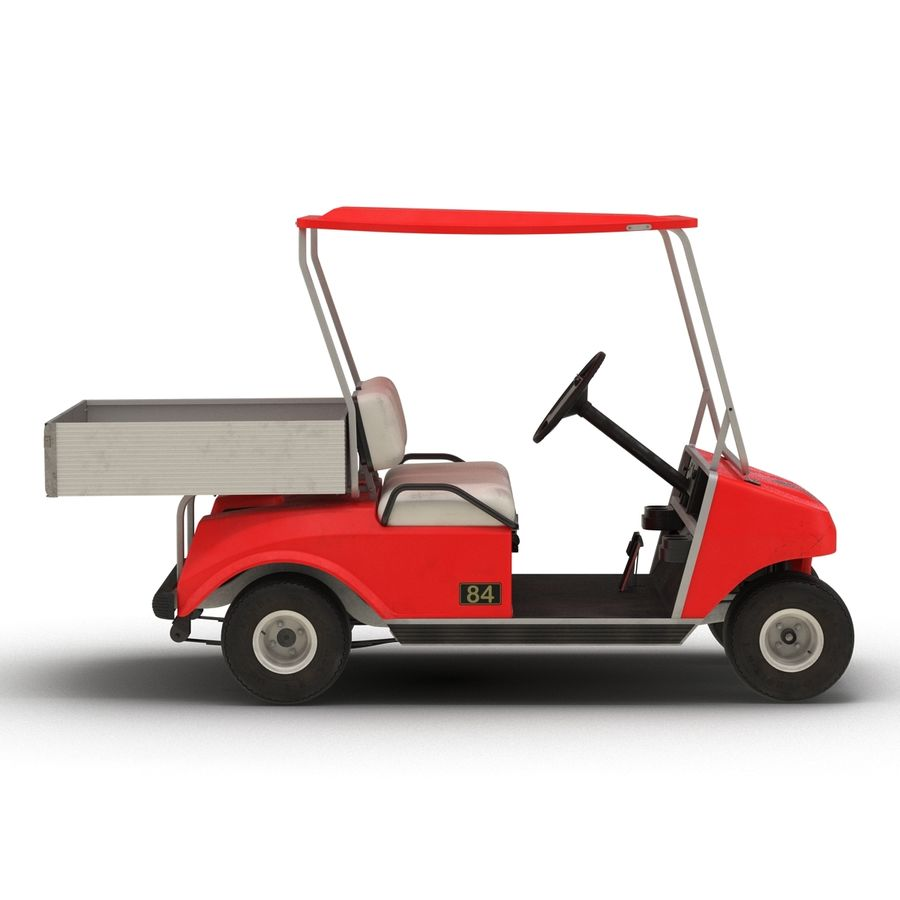 Golf Cart Red 3D Model royalty-free 3d model - Preview no. 9