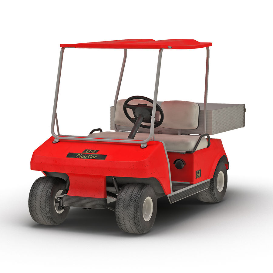 Golf Cart Red 3D Model royalty-free 3d model - Preview no. 2