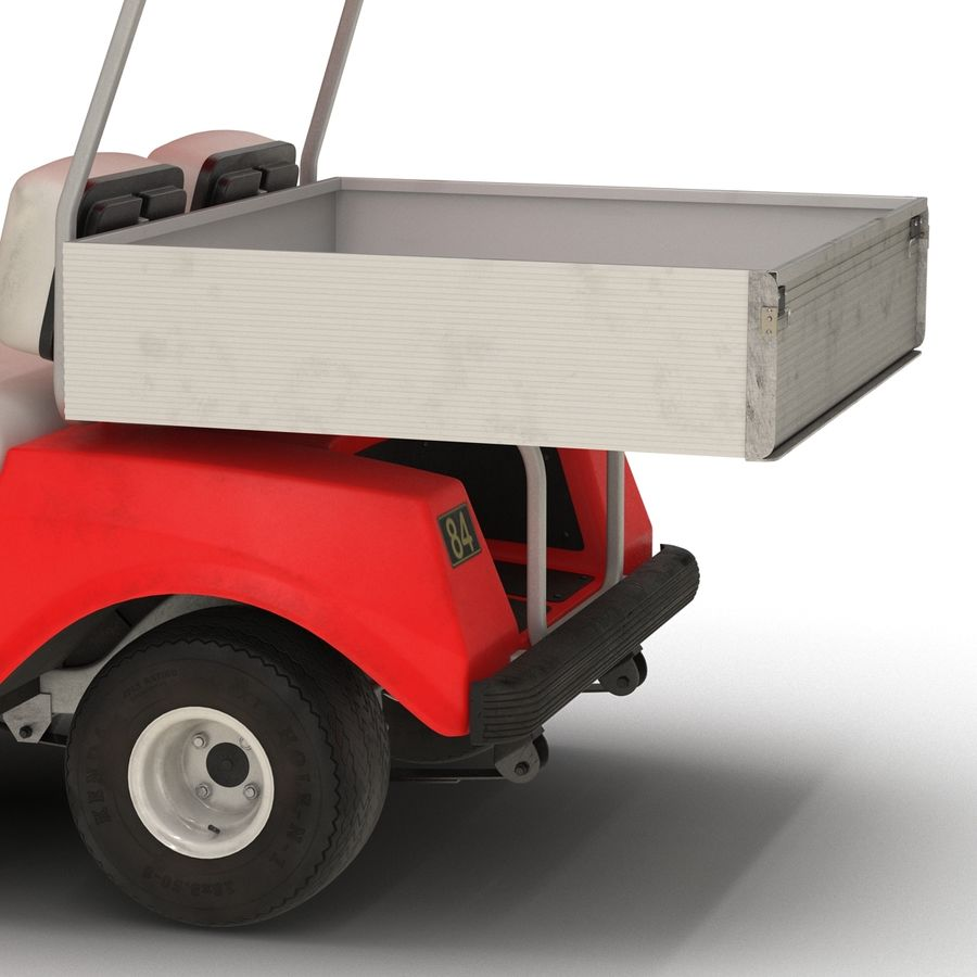 Golf Cart Red 3D Model royalty-free 3d model - Preview no. 11