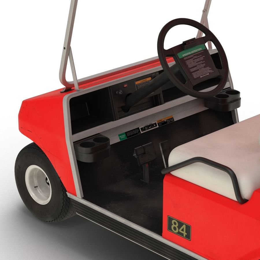 Golf Cart Red 3D Model royalty-free 3d model - Preview no. 12