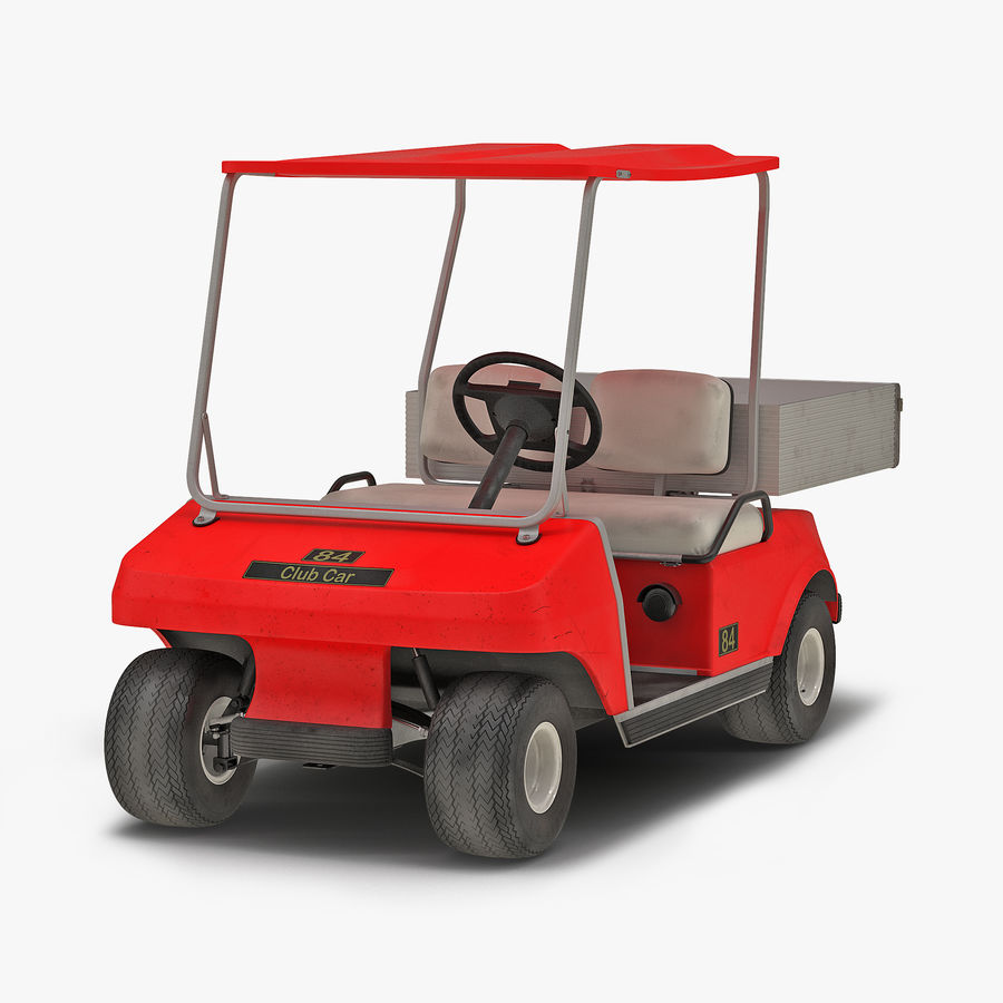 Golf Cart Red 3D Model royalty-free 3d model - Preview no. 1