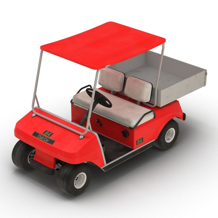Golf Cart Red 3D Model royalty-free 3d model - Preview no. 7