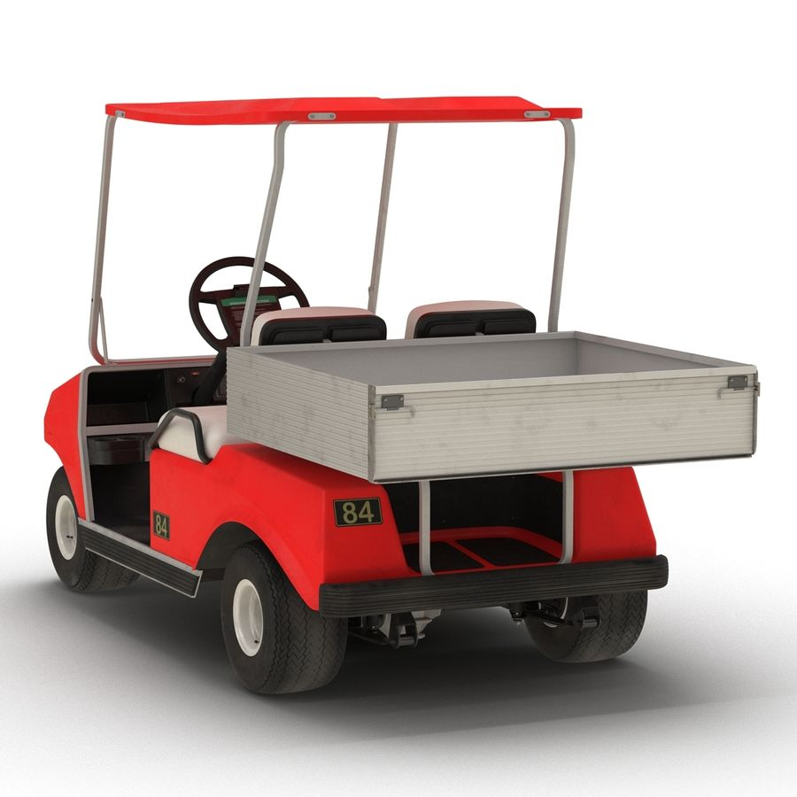 Golf Cart Red 3D Model royalty-free 3d model - Preview no. 6
