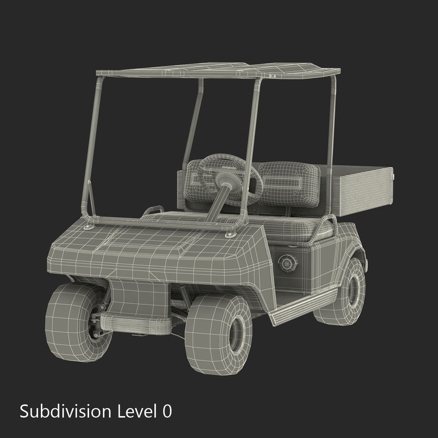 Golf Cart Red 3D Model royalty-free 3d model - Preview no. 16