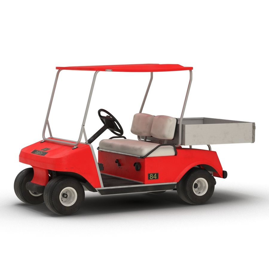 Golf Cart Red 3D Model royalty-free 3d model - Preview no. 4