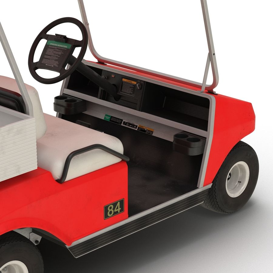 Golf Cart Red 3D Model royalty-free 3d model - Preview no. 13