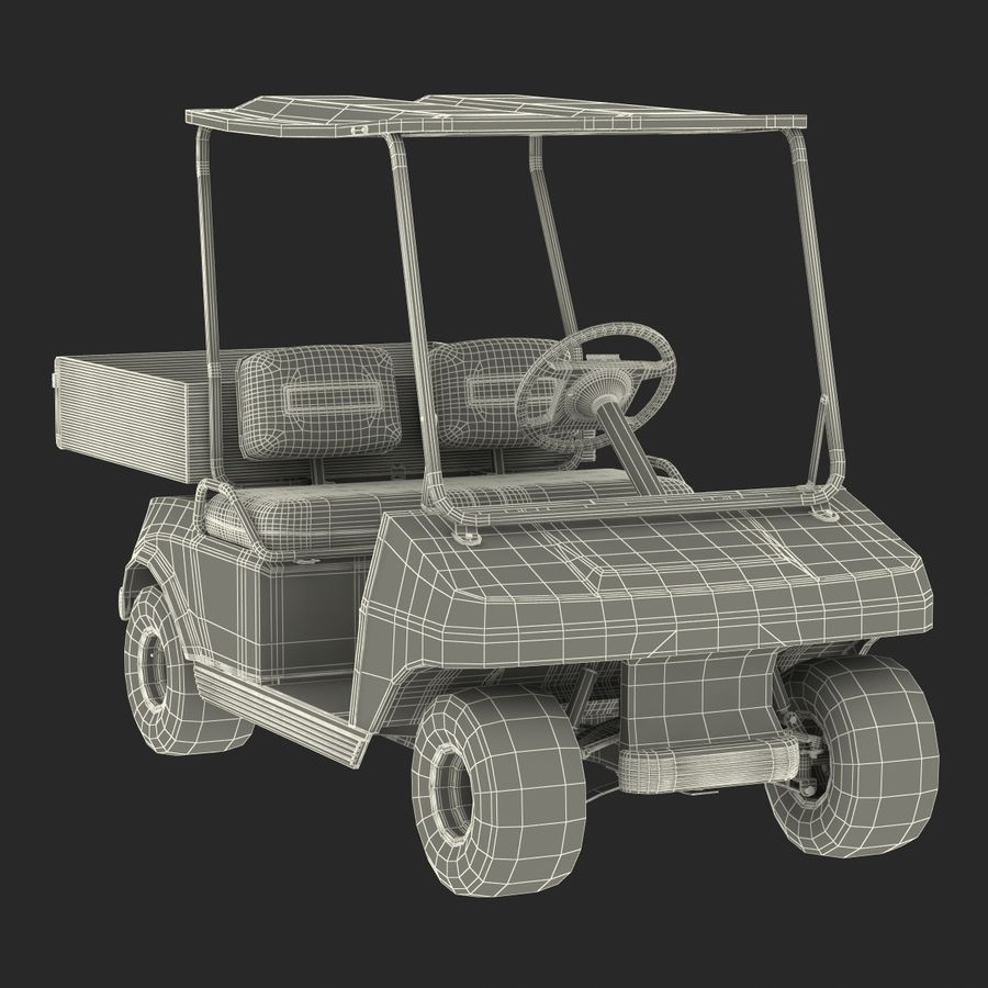 Golf Cart Red 3D Model royalty-free 3d model - Preview no. 21