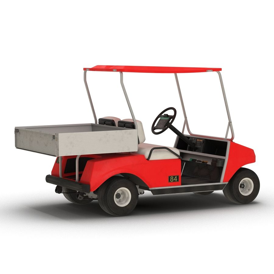 Golf Cart Red 3D Model royalty-free 3d model - Preview no. 3
