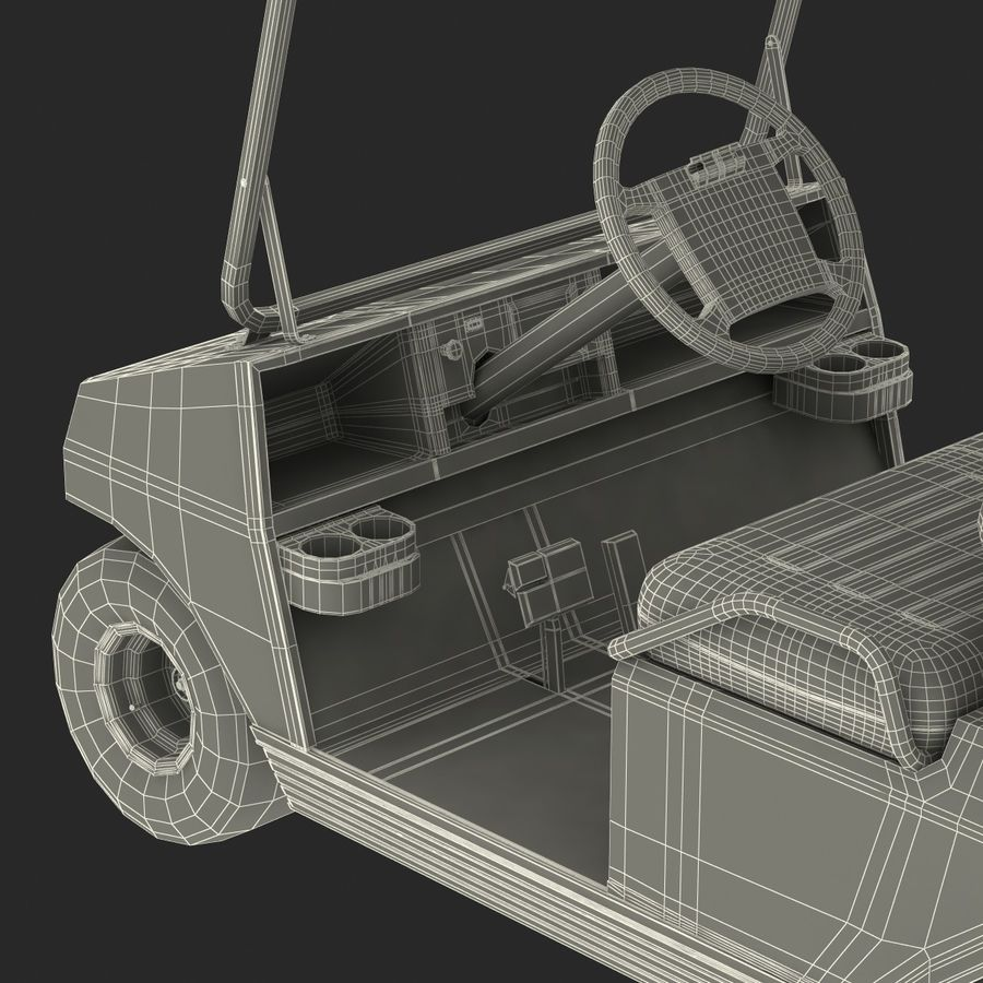 Golf Cart Red 3D Model royalty-free 3d model - Preview no. 25