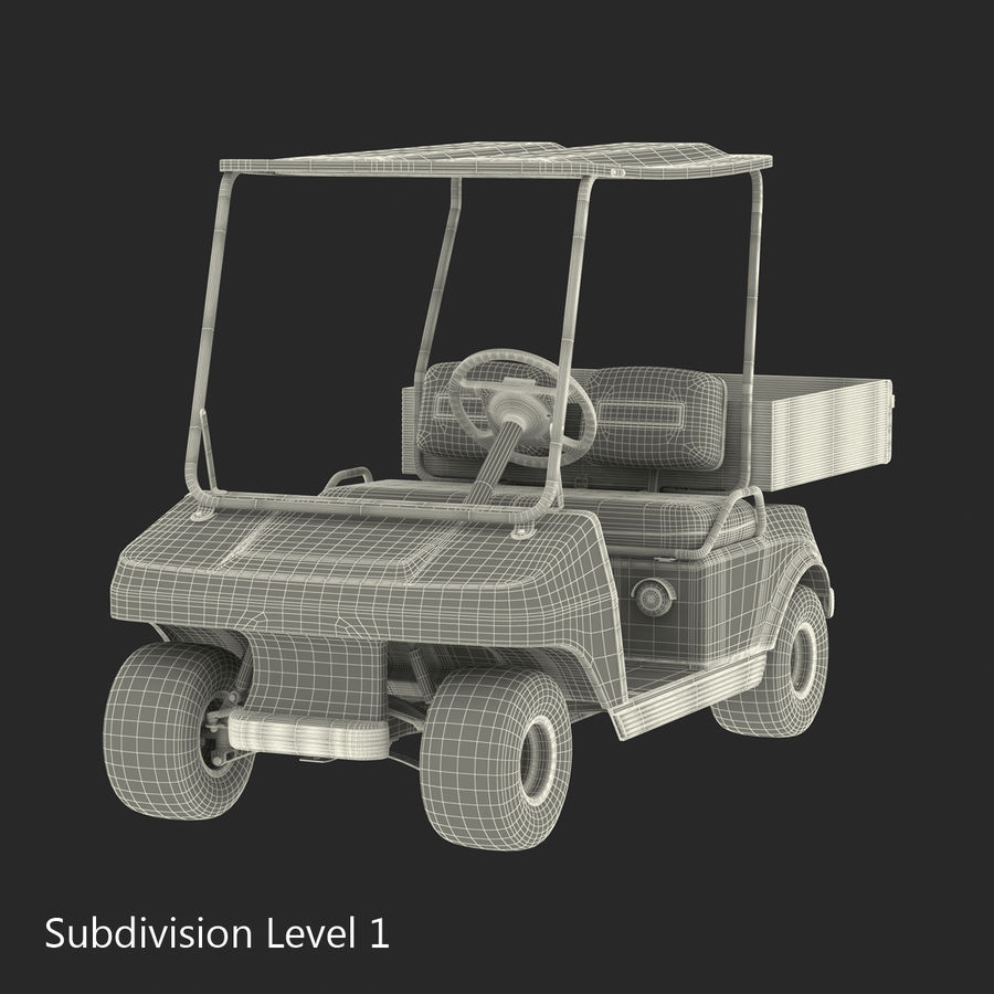 Golf Cart Red 3D Model royalty-free 3d model - Preview no. 17