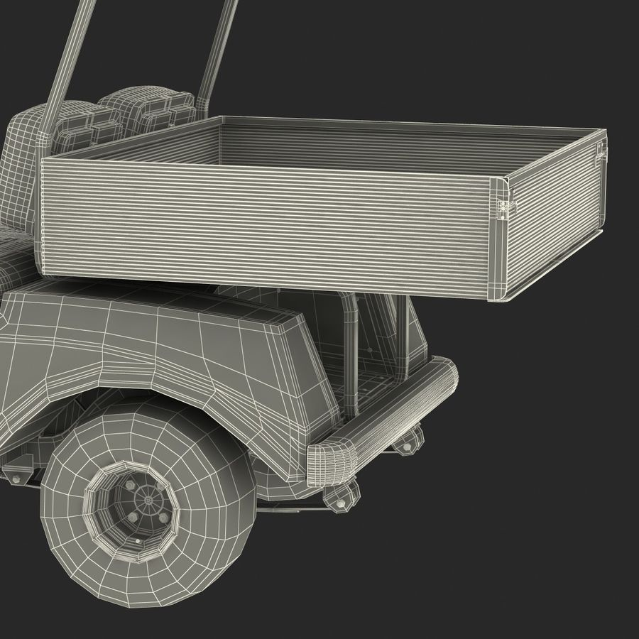 Golf Cart Red 3D Model royalty-free 3d model - Preview no. 24