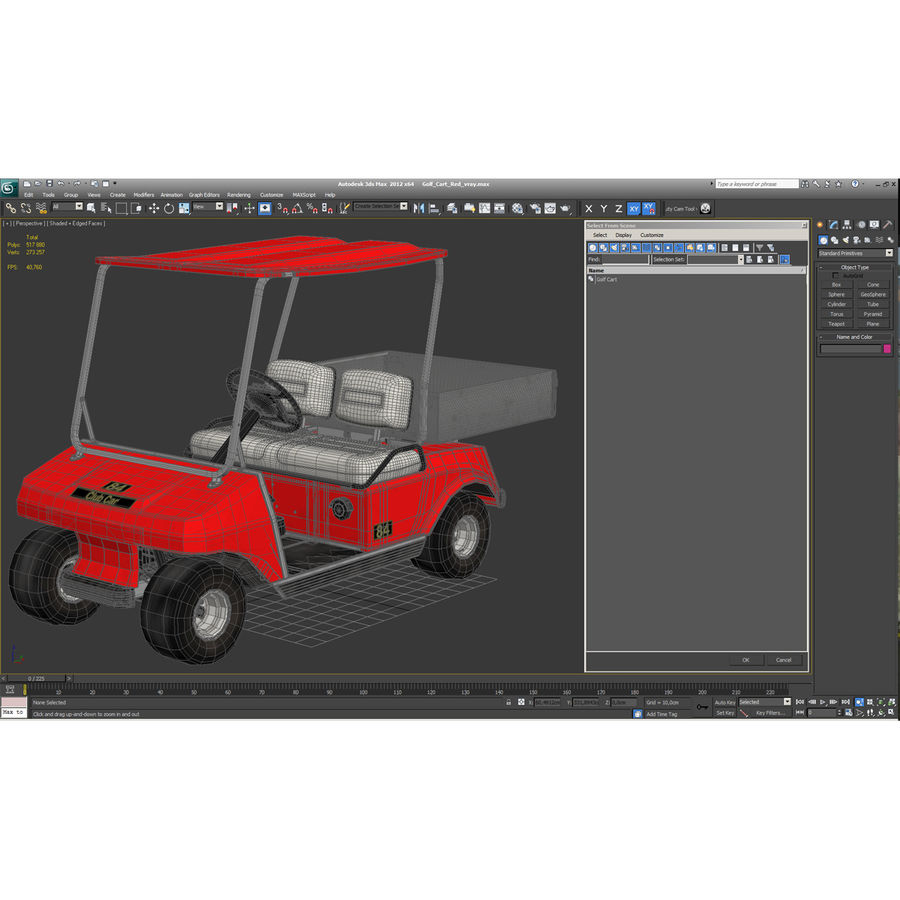 Golf Cart Red 3D Model royalty-free 3d model - Preview no. 20