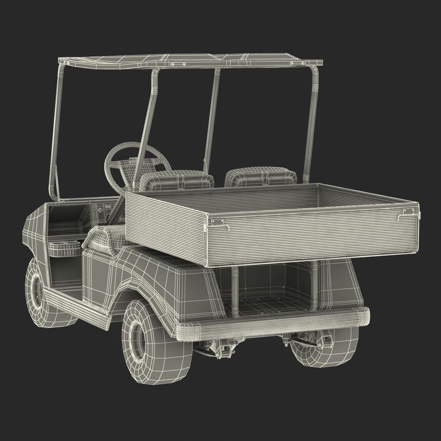 Golf Cart Red 3D Model royalty-free 3d model - Preview no. 22