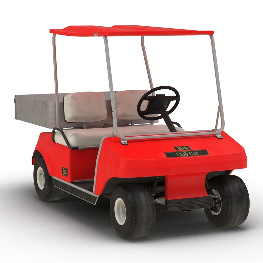Golf Cart Red 3D Model royalty-free 3d model - Preview no. 5