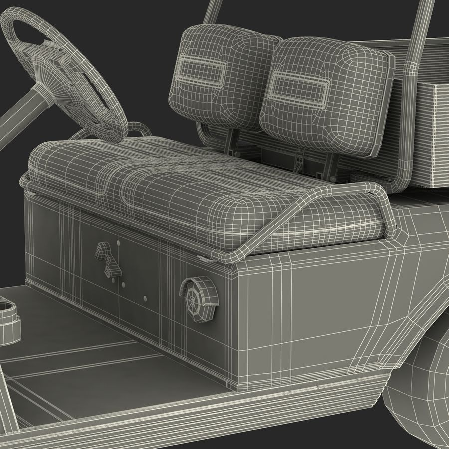 Golf Cart Red 3D Model royalty-free 3d model - Preview no. 27
