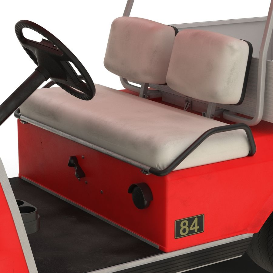 Golf Cart Red 3D Model royalty-free 3d model - Preview no. 14
