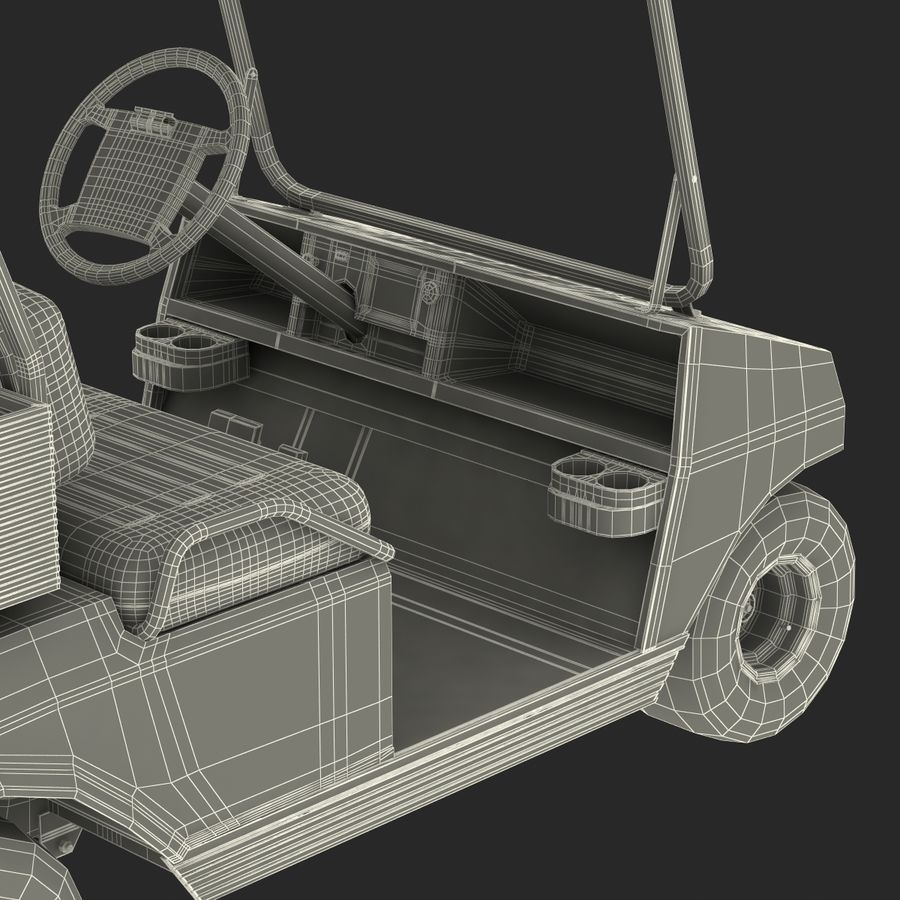 Golf Cart Red 3D Model royalty-free 3d model - Preview no. 26