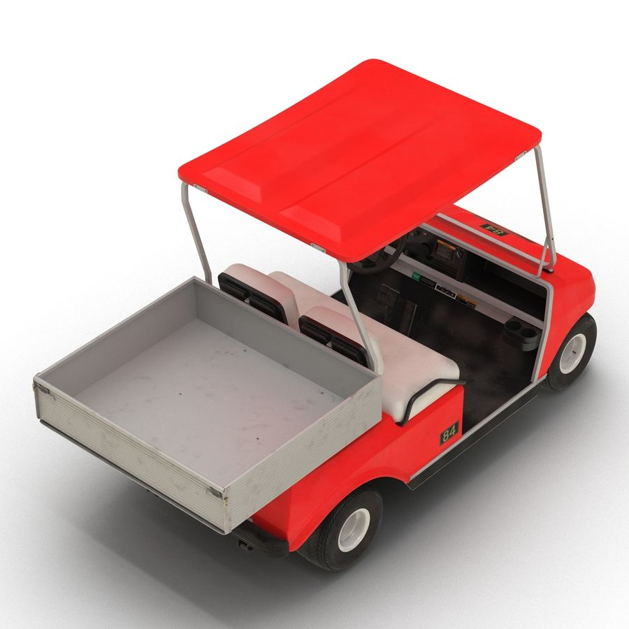 Golf Cart Red 3D Model royalty-free 3d model - Preview no. 8