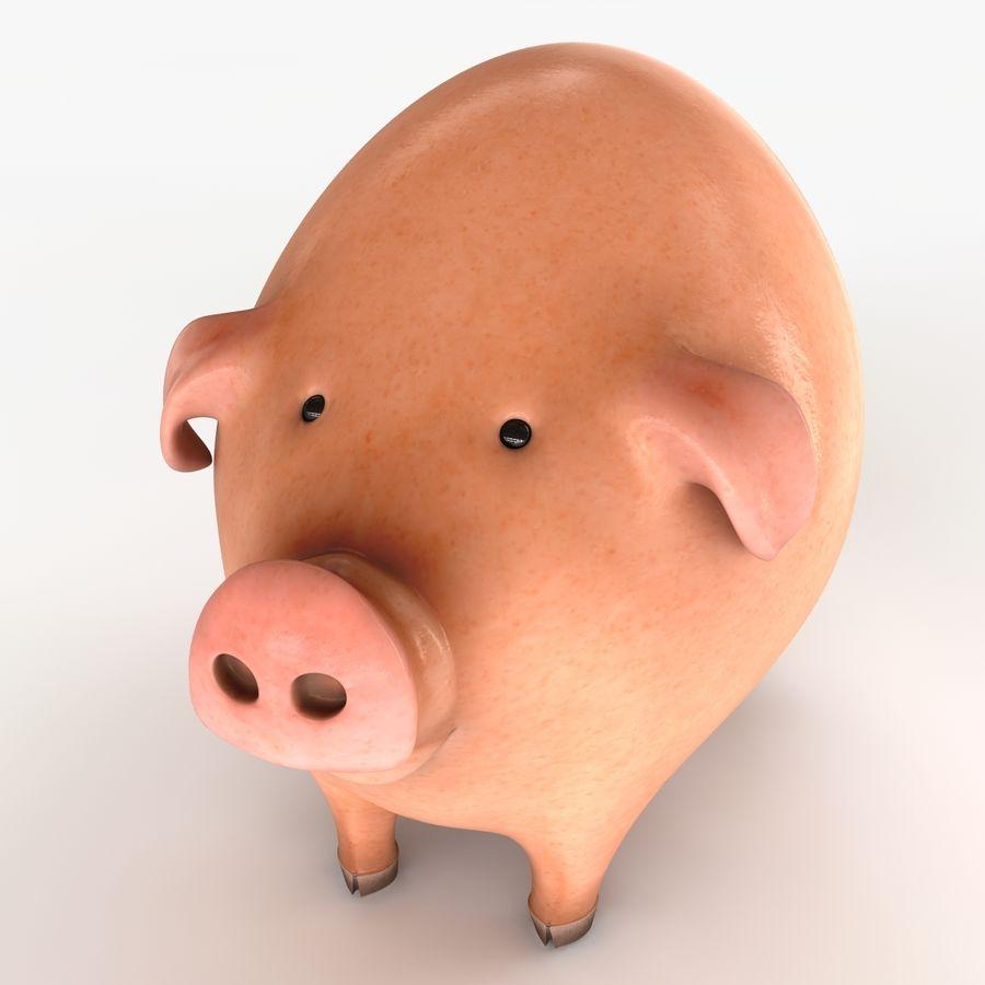 Porco dos desenhos animados royalty-free 3d model - Preview no. 5