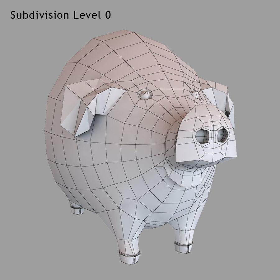 Porco dos desenhos animados royalty-free 3d model - Preview no. 19