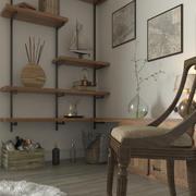Levande interiör 1 3d model