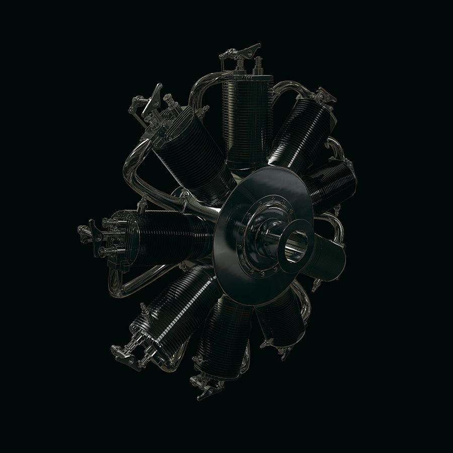 Radial engine royalty-free 3d model - Preview no. 4